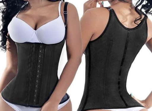 Black latex waist training vest from Colombia