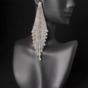 Long dangle rhinestone competition earrings