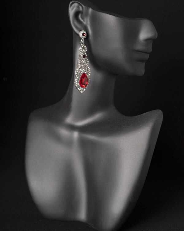 Red Rhinestone Competition Earrings